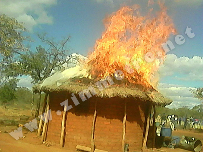 PICTURES: Angry Villagers Burn Down Homes Belonging To Cattle 'Thieves'