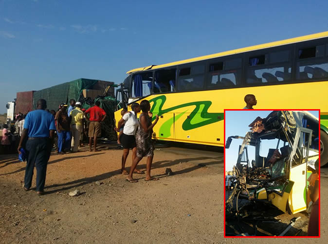 Two die in bus, haulage truck crash