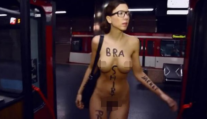 Woman commutes to work with no clothes on