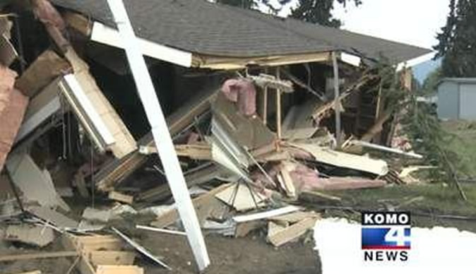 Man bulldozes four homes in row with neighbours